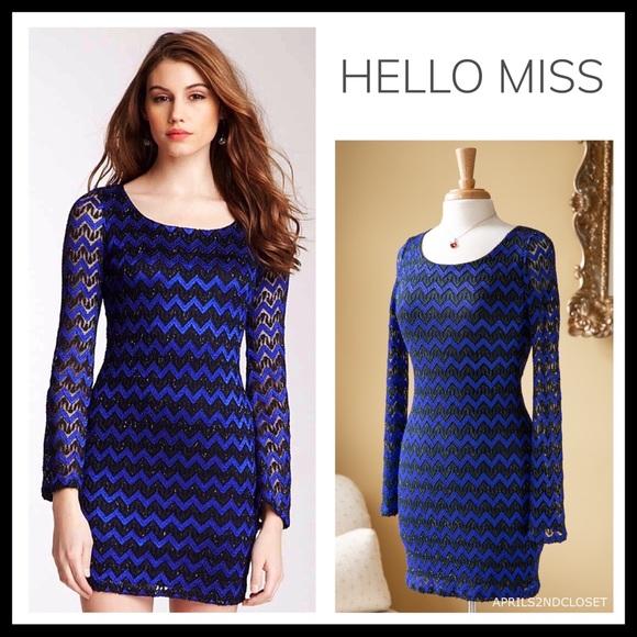 6e58bb746834 hello miss Dresses   Lace Overlay Metallic Long Sleeves Mini Dress ...